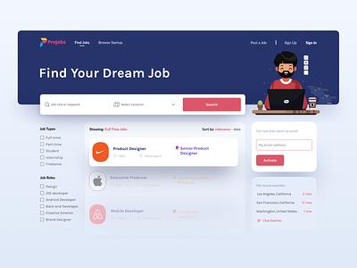 Projob - Job Search Platform logo desktop user experience page color clean illustration design uidesign web design minimal website web jobsite ux ui cards elements careers jobs