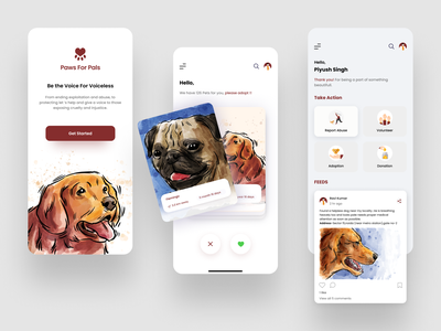 Paws For Pals clean uidesign donation vectors design app user experience empathy color ui animal adoption adopt dog