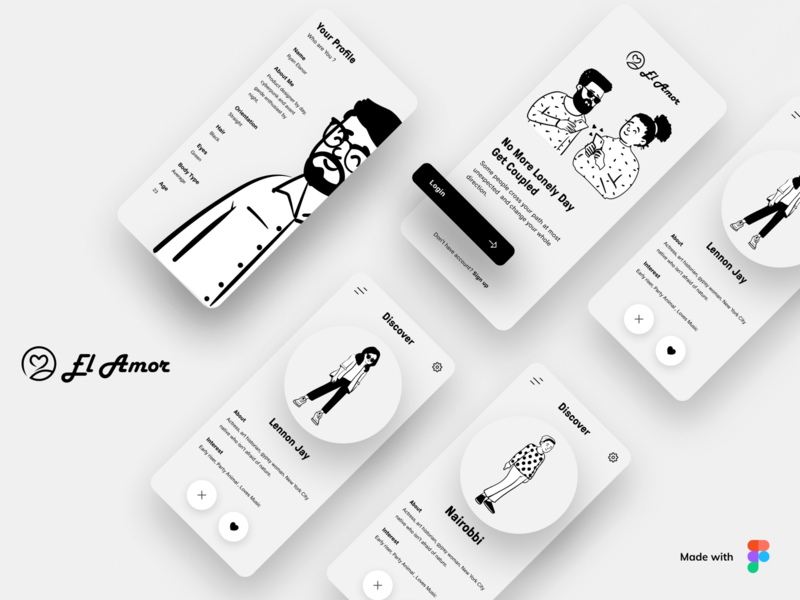 El Amora -Dating App logo homepage illustrations website web datingapp black love lovers match illustration dashboard design app design app clean ux uidesign ui