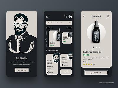La Barba shop app design iosapp grooming personal care minimal dark website web elegant dashboard mustache character illustration beard barber application app clean uidesign