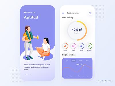 Aptitud App cards website minimal flat web icon typography ux vector branding ui logo design illustration health healthcare color dashboard app design app