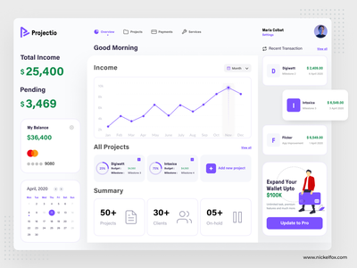 Projectio Dashboard: Projects Overview product design dailyui desktop card list project task management website web dashboard ux ui clean illustration typography branding minimal design app