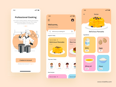 Cooking App product design typography onboarding dashboard website colors branding web recipe illustration food dish cuisine cooking cook ui ux vector design app
