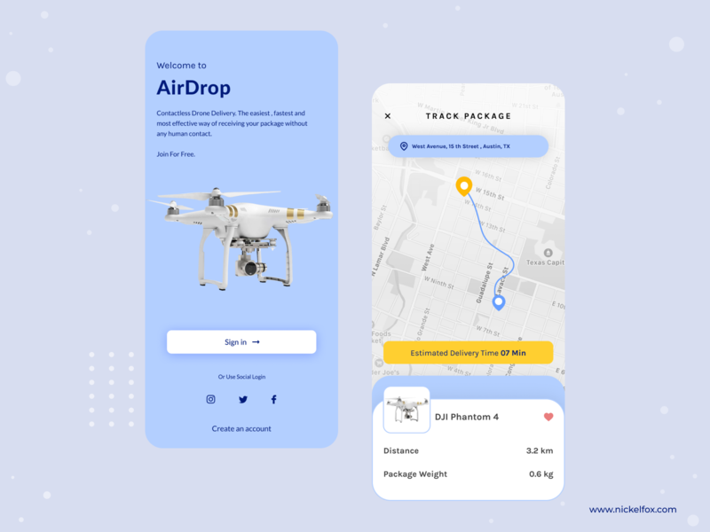 Airdrop - Drone Delivery App splash tracking status ios illustration management drone delivery app delivery color logo branding typography dashboard web website clean minimal app design