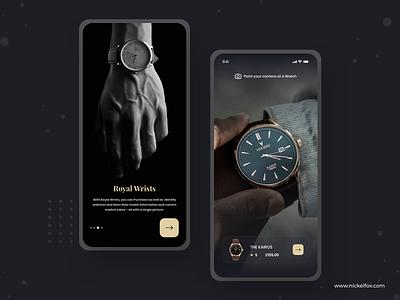 Royal Wrists design app design ios typogaphy dark clean splash wristwatch scanner shopping premium watch logo typography dashboard uidesign minimal web website app