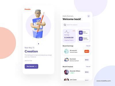 Kreado App typography freelance clean web dashboard dashboad uidesign ui trendy trend popular minimal dribbble best shot design app design app