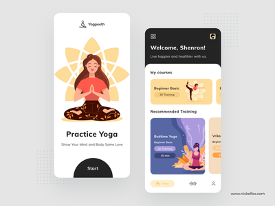 Yogpeeth App mentalhealth courses trending dribbble best shot ios onboarding yoga app vector meditation yoga ux illustration ui dashboard clean web uidesign minimal design app