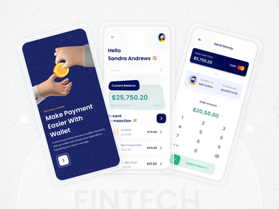 Wallet app - Mobile App ios website web wallet app fintech 3d ui design ux design mobile wallet app mobile app clean minimal illustration chart payment pay onboarding dashboard typography