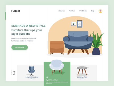 Furnico - Modern Furniture Website Concept. project landing page design animation livingroom ecommerce home chair table furniture web design app design typography clean website illustration branding dashboard web design app