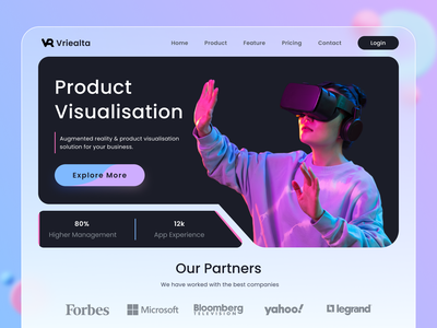 Vriealta (Product Visualisation Landing Page Design) minimal clean service project digital agency uiux ui ux landing page hero section typography branding design app website dashboard web virtual reality 3d art