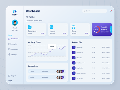 Filetio - Files Management Dashboard ux icons dashboard app files storage app analytics project interface app design branding ui illustration clean website dashboard web minimal design app admin
