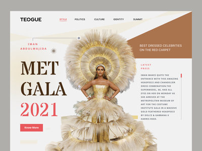 TEOGUE- Met Gala 2021 Concept Landing Page application trending news startup ui ux interface service design product online publication teen fashion met gala 2021 landing page home website web design web figma