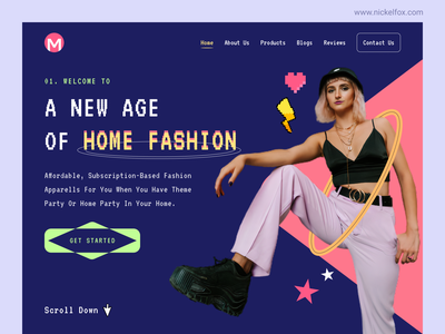 Clothing Store Web UI creative typography homepage marketing landing page style fashion shopping winter cloth wear website startup ui ux web interface design service product