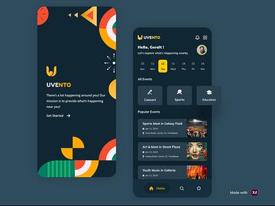 UVENTO App - (Event app Exploration) ios management app pattern party concert event app schedule mood event app design clean dribbble ui ux adobe xd user experience design uidesign app ui app