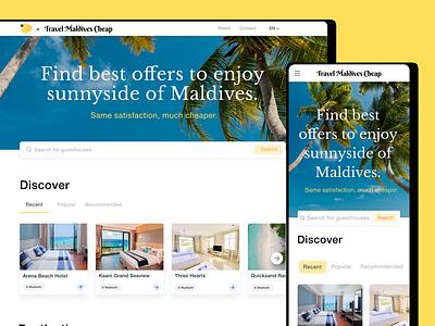 Travel Maldives mobile ui web design mobile tourism tours maldives travel figma website typography branding web ux ui