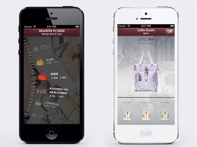 George Gina & Lucy Bags App ui interactive iphone dial menu wheel mobile touch round roll app application ios fashion list