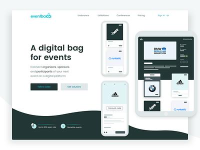 eventbaxx website product web event digital goodie bag organizers sponsors landing page design design ux ui
