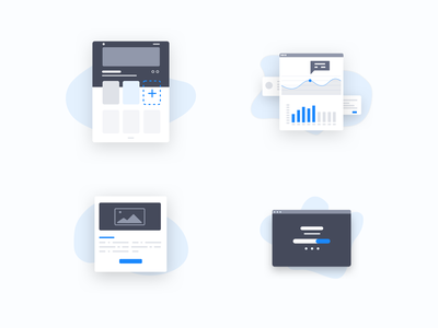 Empty states Illustration set landing page email template reports content minimalism empty state design ux ui illustration