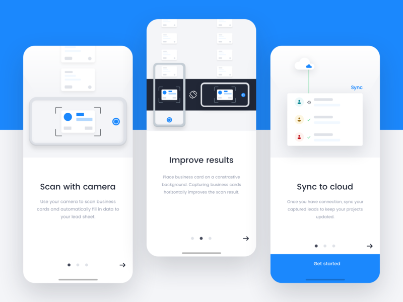 Leads capture app Onboarding by Guido Sanchez Cardarelli on Dribbble