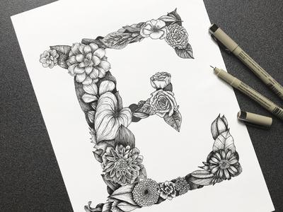 Handmade botanical cover illustration
