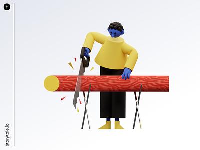 3DDD Illustrations 3d 4d 3ddd craftwork storytale contrast pack illustration branding design cool colorful