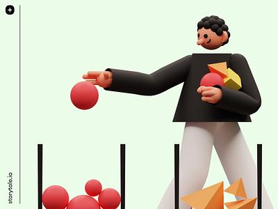 3DDD app design 3ddd 3d contrast pack illustration branding design cool colorful