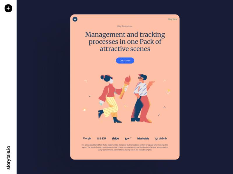Silky Illustrations landingpage landing product app website web characters startup business grainy vector storytale illustration design