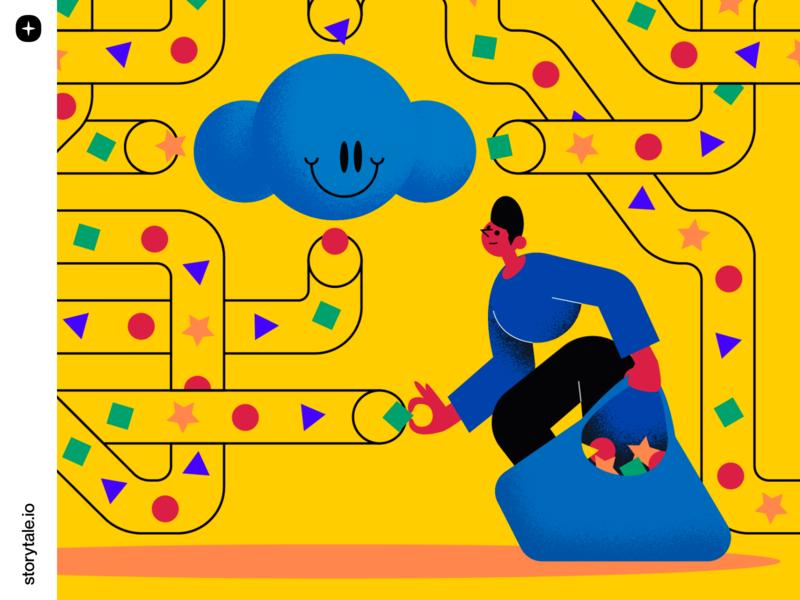 Superb 🔶 🔵 ⭐️ web ui contrast vector branding storytale colorful illustration design