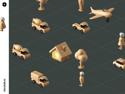 Wooden Toys 🌟 natural volumetric 3d isometry isometric branding storytale illustration design