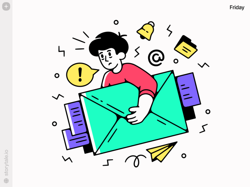 New Friday Illustrations 😍 attention workflow emails hardwork work notifications friday web ui vector colorful storytale illustration design