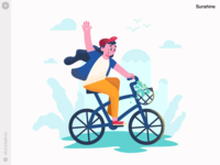 Sunshine Illustrations ☀️ mood summer bicycle sunshine textures grain product new noisy flat web ui vector colorful storytale illustration design