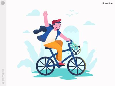 Sunshine Illustrations ☀️ mood summer bicycle sunshine textures grain product new noisy flat web ui vector colorful storytale illustration design