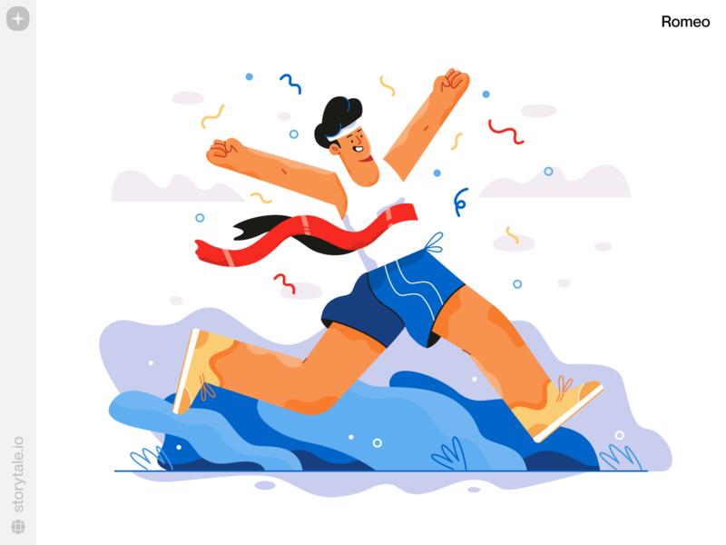 Romeo Illustrations 🎉🎉 success winner romeo web ui vector colorful storytale illustration design