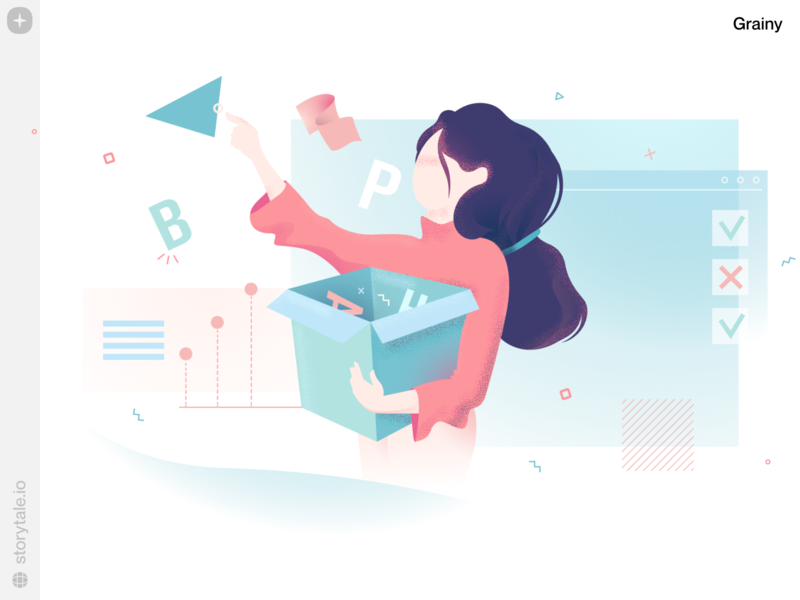 Grainy Illustrations 🌟 grainy product web ui vector colorful storytale illustration design