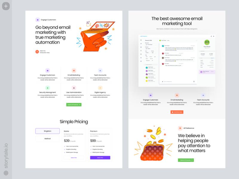 Draw Illustrations 🌟 landing draw presentation product web ui vector colorful storytale illustration design