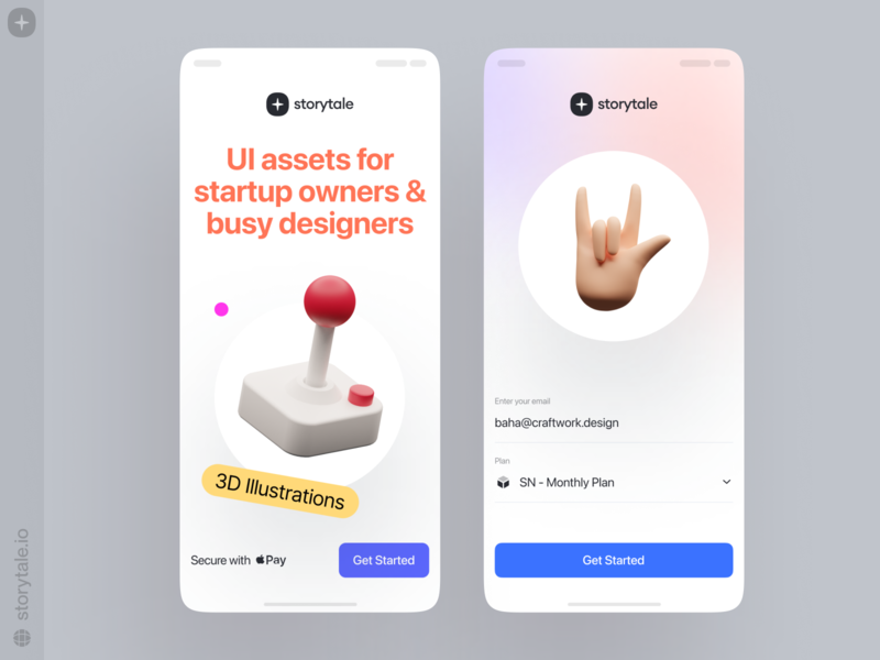 Storytale + 3D graphics = LOVE ❤️ 3dillustration trend love joystick form light clean gradient volumetric 3d app design product ui colorful storytale illustration design