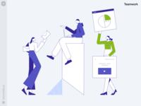 Teamwork Illustrations 📊 content visual graphics illustrations colors analytics workflow teammates business teamwork work team product web ui vector colorful storytale illustration design