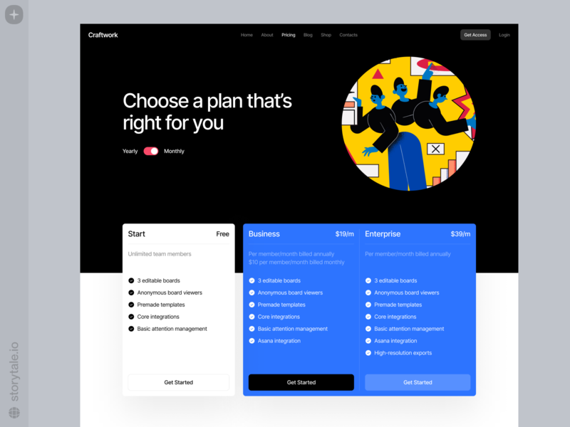Superb Illustrations 🔵 homepage digital product pricing plan prices business blue bright modern contrast theme dark superb web ui colorful storytale illustration design