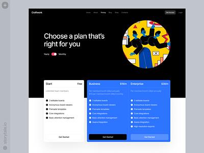 Superb Illustrations 🔵 homepage digital product pricing plan prices business blue bright modern contrast theme dark superb web ui colorful storytale illustration design