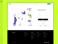 Teamwork Illustrations 💚 signupform signup account landing header footer workflow teammates marketing analutics business teamwork product web ui vector colorful storytale illustration design