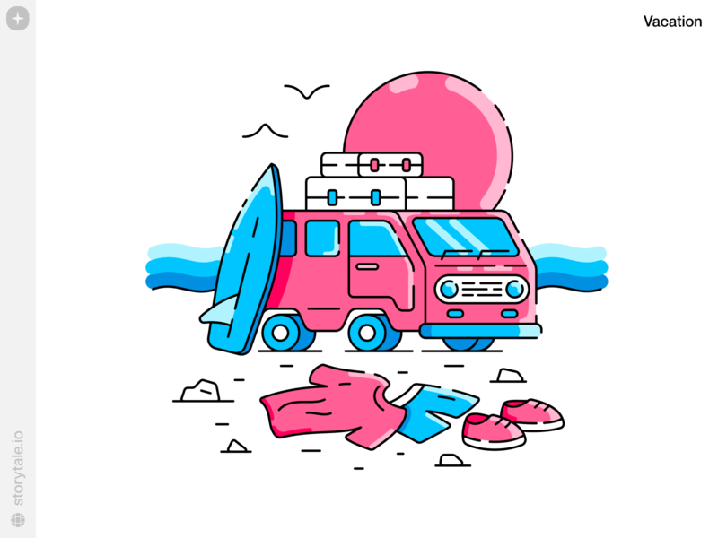 Vacation Illustrations ⛱ sea sunset ui vacation summer beach surf pink van outline product contrast web vector colorful storytale illustration design