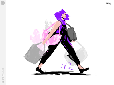 New Riley Illustrations 💜 violet riley ecommerce bags shopping product web ui vector colorful storytale illustration design