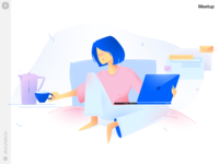 Introducing Meetup Illustrations 🥳 meetup relax workflow athome work stayhome character flat gradients release new product web vector colorful storytale illustration design