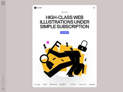 New Blotter Illustrations ⬛️🟨 signin keyshot dark blotter characters contrast web product vector ui colorful storytale illustration design
