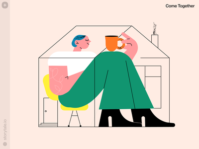 Come Together Illustrations 😌 comfort calmness needmorecoffee coffee autumn fall cozy stayhome home characters illustrations cometogether web product vector ui colorful storytale illustration design