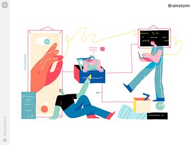 Brainstorm Illustrations 💡 brainstorm web product vector ui colorful storytale illustration design