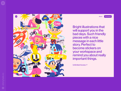 New: Keep Going Illustrations 💜 keep going contrast branding web product vector ui colorful storytale illustration design