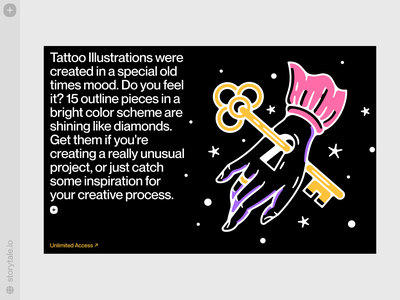 Tattoo Illustrations 🗝️ logo design web ui solid style oldscool tattoo vector colorful storytale illustration