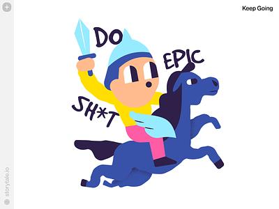Keep Going Illustrations craftwork app design web ui design stickers sticker vector colorful storytale illustration