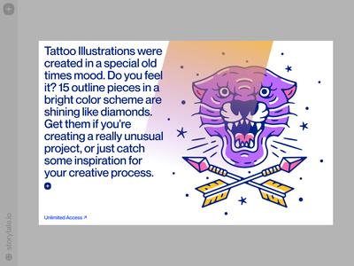 Tattoo illustrations 🐅 bright tattoo tiger outline product web vector ui colorful storytale illustration design